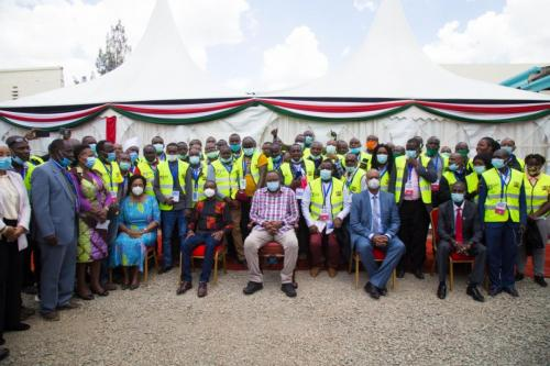 H. E the president Uhuru Kenyatta with 47 county officials during the launch of BIMS